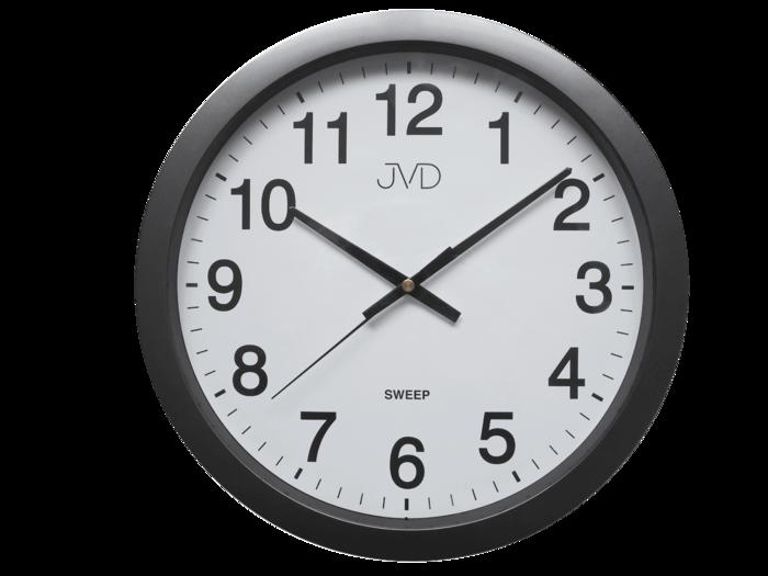 Černé plastové nástěnné netikající tiché hodiny JVD sweep HP611.2