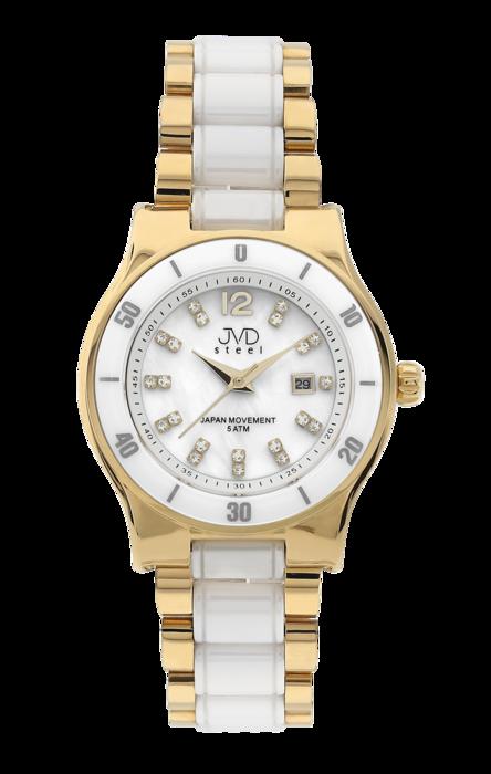 Dámské keramické bílé hodinky JVD steel J4125.2 s perleťovým číselníkem POŠTOVNÉ ZDARMA!