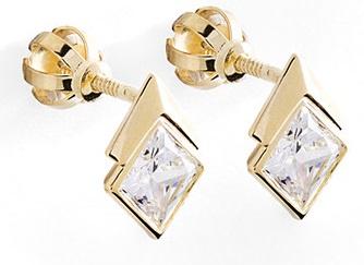 Dámské zlaté náušnice se zirkony na šroubek 585/0,90gr 236040918 (POŠTOVNÉ ZDARMA!!!)