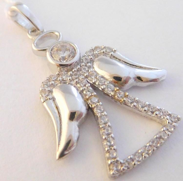 Zlatý andělíček / anděl posetý zirkony přívěsek z bílého zlata 585/1,32gr H026 (POŠTOVNÉ ZDARMA!!)