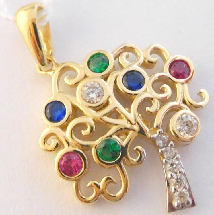 Gravírovaný zlatý strom života se zirkony,safíry,rubíny a smaragdy 585/2,01gr H032