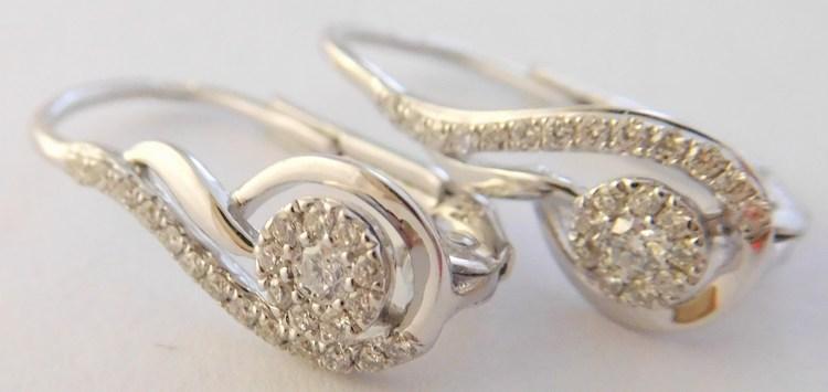 Briliantové diamantové zlaté náušnice z bílého zlata 46ks 0,17CT 585/1,50gr 3880704 (POŠTOVNÉ ZDARMA!!)