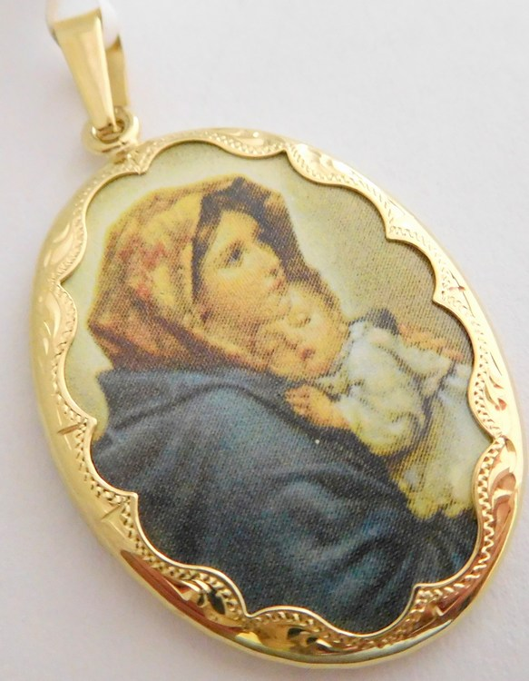 Obrovská gravírovaná zlatá smaltovaná madonka - svatá Madona s dítětem 585/4,47gr 3320091 (POŠTOVNÉ ZDARMA!!)