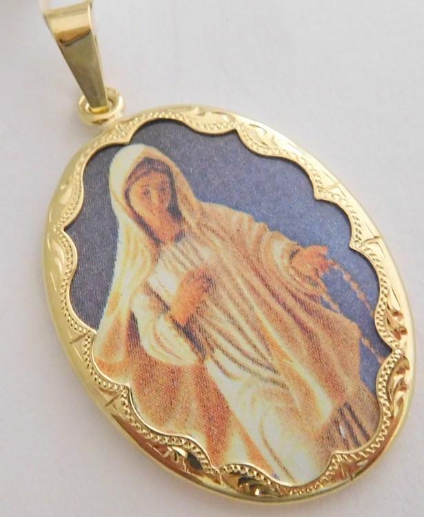 Obrovská gravírovaná zlatá smaltovaná madonka - svatá Madona 585/4,35gr 3320095 (POŠTOVNÉ ZDARMA!!)