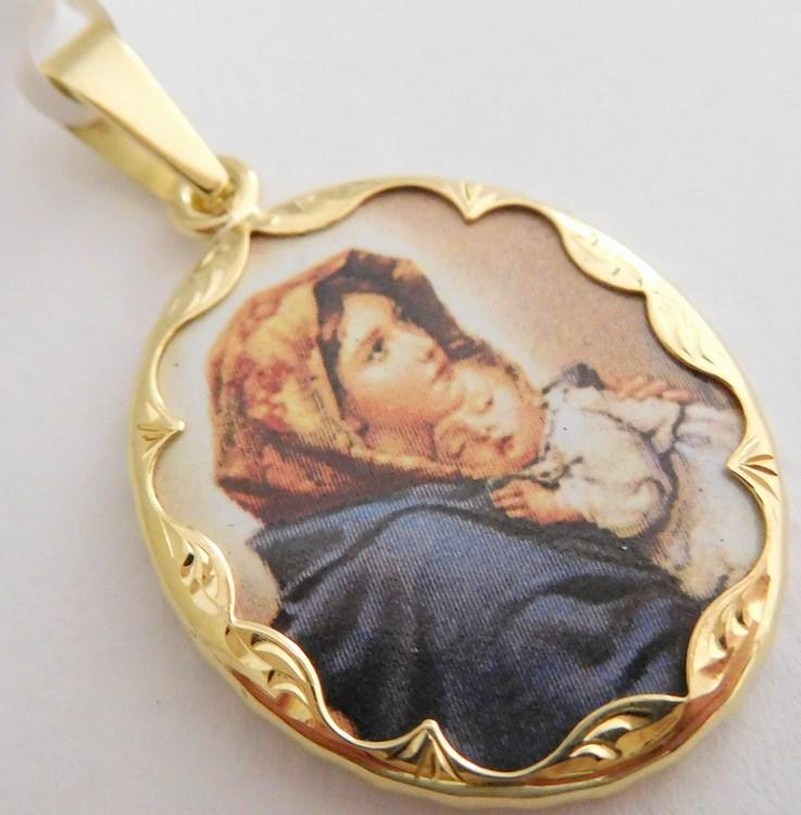 Gravírovaná zlatá smaltovaná madonka - svatá Madona s dítětem 585/3,47gr 3320070 (POŠTOVNÉ ZDARMA!!)
