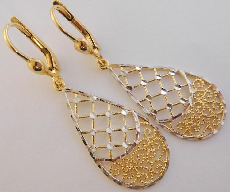 Luxusní velké gravírované visací náušnice z bílého a žlutého zlata 585/3,10gr 1430879 (POŠTOVNÉ ZDARMA!!)