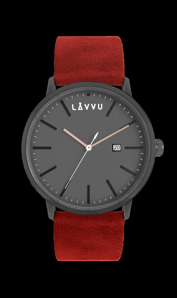 Červeno-černé pánské hodinky LAVVU COPENHAGEN HEAT LWM0055 (POŠTOVNÉ ZDARMA!!!)
