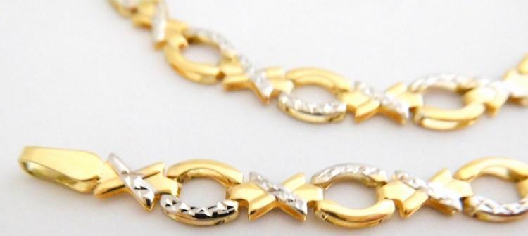 Mohutný velký zlatý dámský náramek z bílého a žlutého zlata 18cm 585/2,90gr šířka 5,5mm 1440477 (POŠTOVNÉ ZDARMA!! s gravírováním)