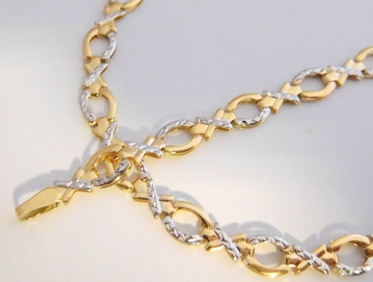 Mohutný velký zlatý dámský náramek z bílého a žlutého zlata 19cm 585/3,07gr šířka 5,5mm