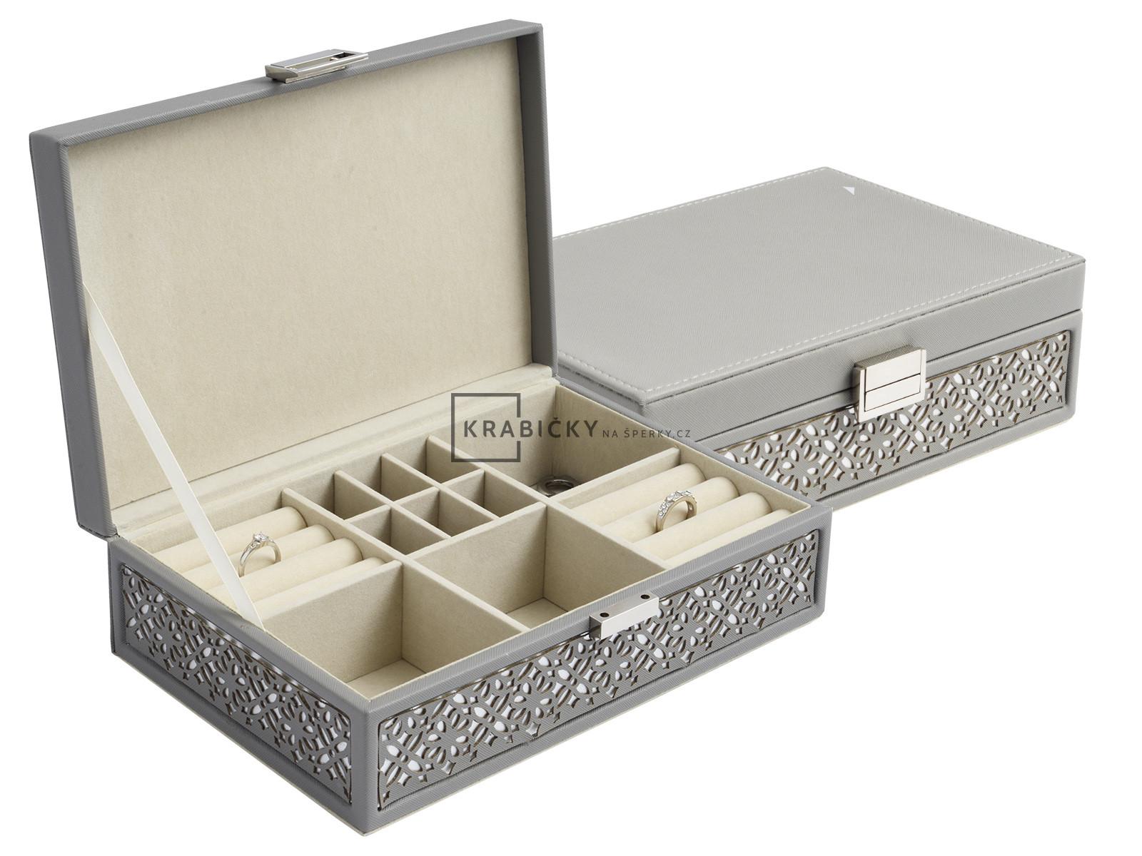 Krásná praktická šedá šperkovnice SP-1853/A3/AG