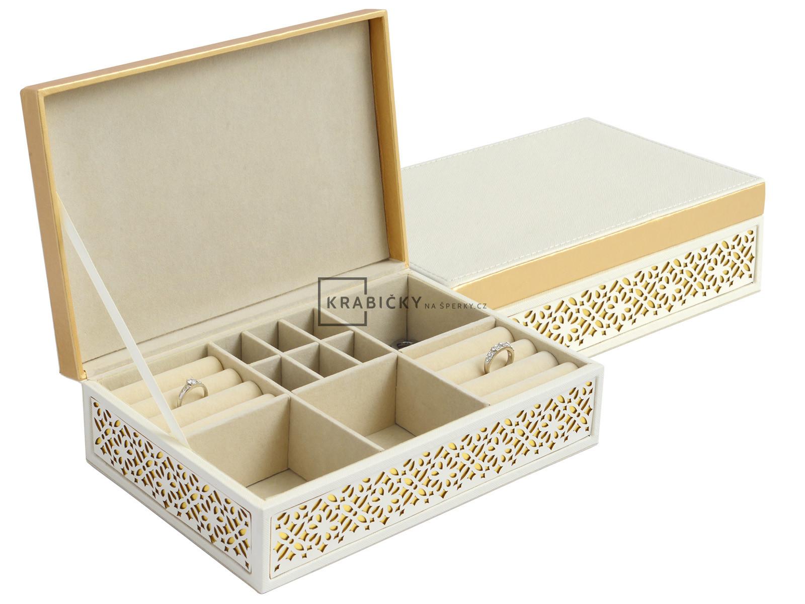 Krásná praktická vzorovaná oranžovo-krémová šperkovnice SP-1853/A20/AU