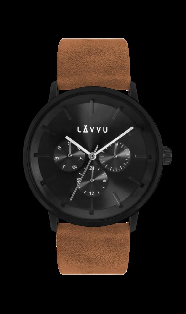 Hnědé multifunkční hodinky LAVVU TROMSØ CEDAR BROWN LWM0062 (POŠTOVNÉ ZDARMA!!!)