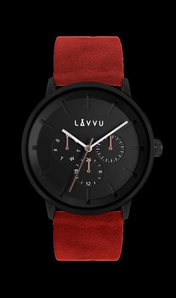 Červené multifunkční hodinky LAVVU TROMSØ CHILI RED LWM0064 (POŠTOVNÉ ZDARMA!!!)