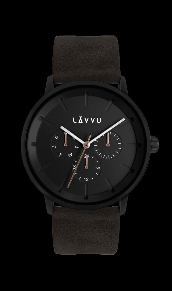 Černé multifunkční hodinky LAVVU TROMSØ OBSIDIAN BLACK LWM0065 (POŠTOVNÉ ZDARMA!!!)