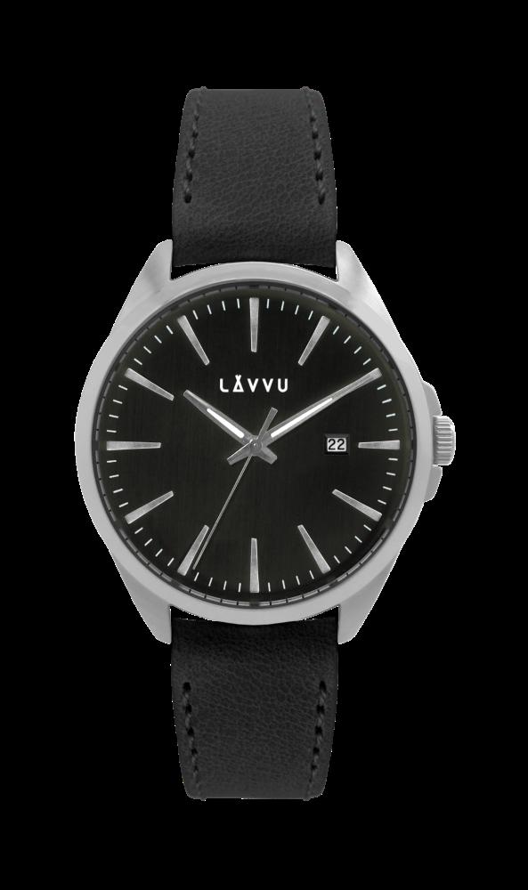 Stylové pánské hodinky LAVVU STAVANGER Black / Top Grain Leather LWM0045 (POŠTOVNÉ ZDARMA!!! - vodotěsné 10ATM)