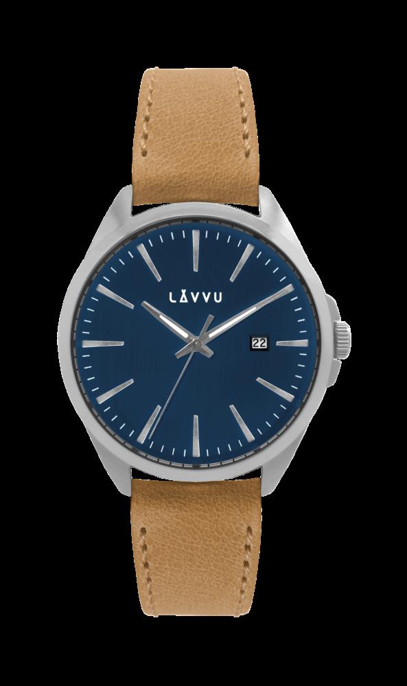 Stylové pánské hodinky LAVVU STAVANGER Blue / Top Grain Leather LWM0044 (POŠTOVNÉ ZDARMA!!! - vodotěsné 10ATM)