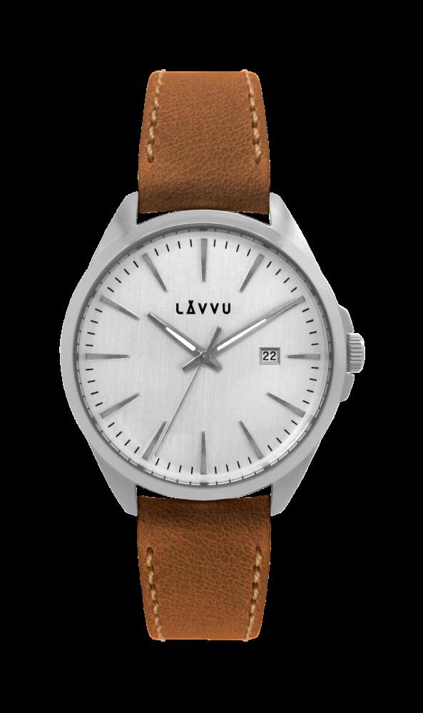 Stylové pánské hodinky LAVVU STAVANGER Silver / Top Grain Leather LWM0043 (POŠTOVNÉ ZDARMA!!! - vodotěsné 10ATM)