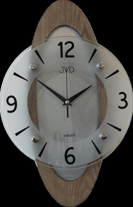 Netikající tiché dřevěné skleněné hodiny JVD NS17011/78 s tichým chodem