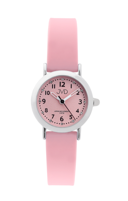 Dívčí dětské náramkové hodinky JVD J7189.2 se zirkony na číselníku (dívčí dětské hodinky)