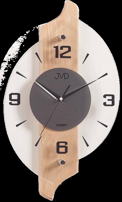 Netikající tiché dřevěné skleněné hodiny JVD NS18007/68 s tichým chodem
