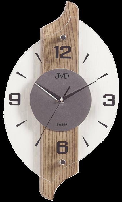 Netikající tiché dřevěné skleněné hodiny JVD NS18007/78 s tichým chodem