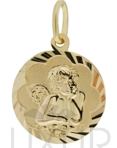 Zlatý přívěsek - gravírovaný zlatý andělíček - celozlatý anděl průměr 12mm 585/0,90gr 2320099 (POŠTOVNÉ ZDARMA!!!)