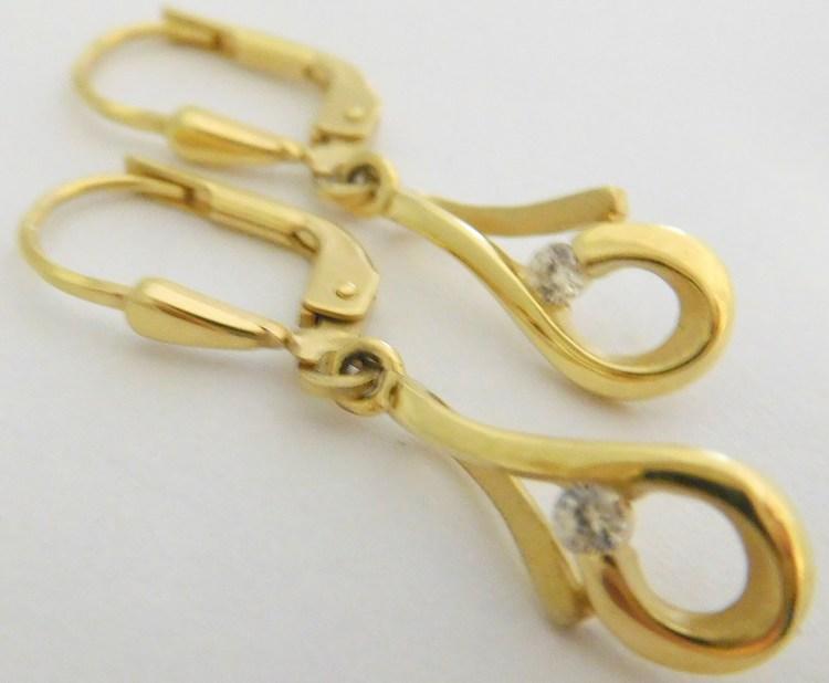 Zlaté visací náušnice ze žlutého zlata se zirkony 585/1,87gr 2034000
