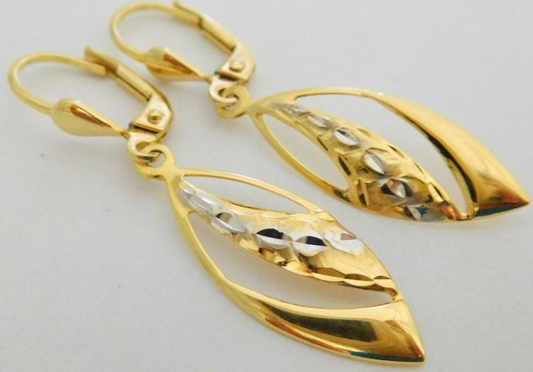 Luxusní gravírované zlaté visací náušnice z bílého a žlutého zlata 585/1,75gr 1131994 (POŠTOVNÉ ZDARMA!!)