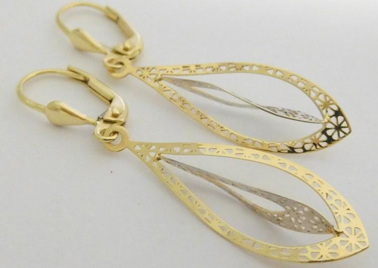 Luxusní gravírované zlaté visací náušnice z bílého a žlutého zlata 585/1,65gr 1131570 (POŠTOVNÉ ZDARMA!!)