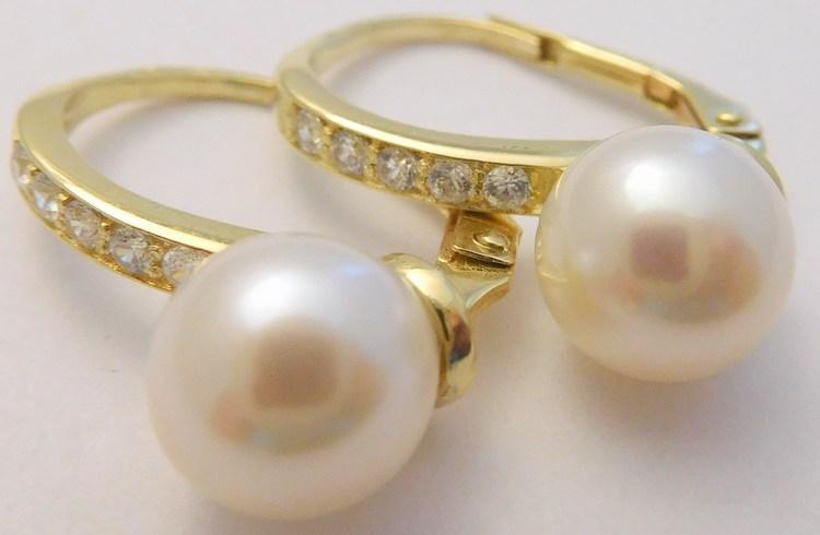 Klasické velké mohutné zlaté náušnice s velkými perlami a zirkony 585/3,40gr 235040130