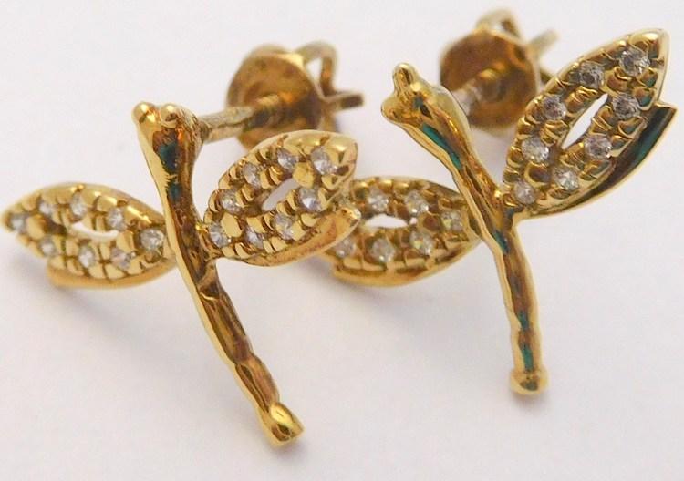 Zlaté náušnice poseté zirkony ze žlutého zlata (vážky) na šroubek 585/1,75gr T014 (POŠTOVNÉ ZDARMA!!)