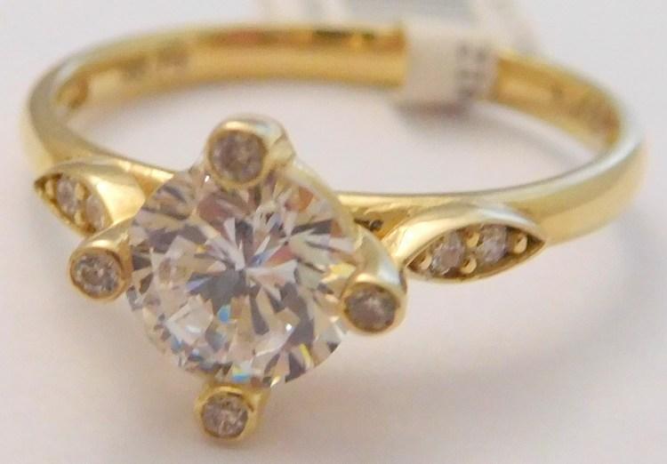 4850c4719 Mohutný zásnubní zlatý prsten ze žlutého zlata s velkým zirkonem 585/2,05gr  vel. 50 1216085