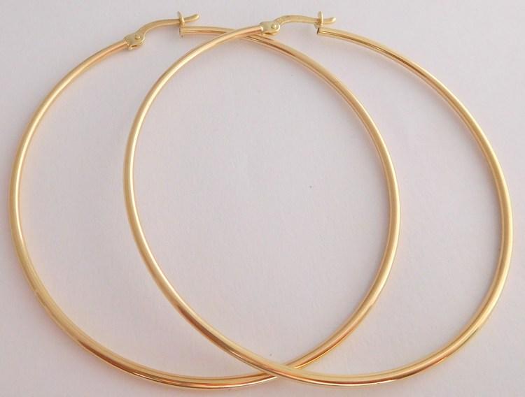 Obrovské dámské velké plné zlaté kruhy průměr 5,4cm 585/3,12gr 1431303 (POŠTOVNÉ ZDARMA!!)