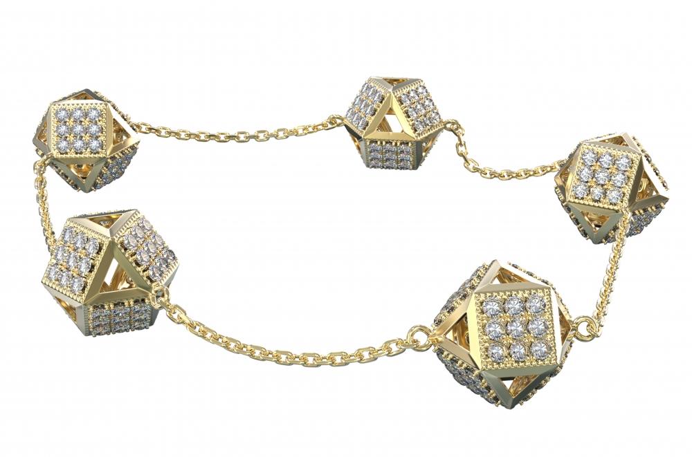 caecd8b6c3b Luxusní velký zlatý náramek KOSTKA (10mm x 10mm)