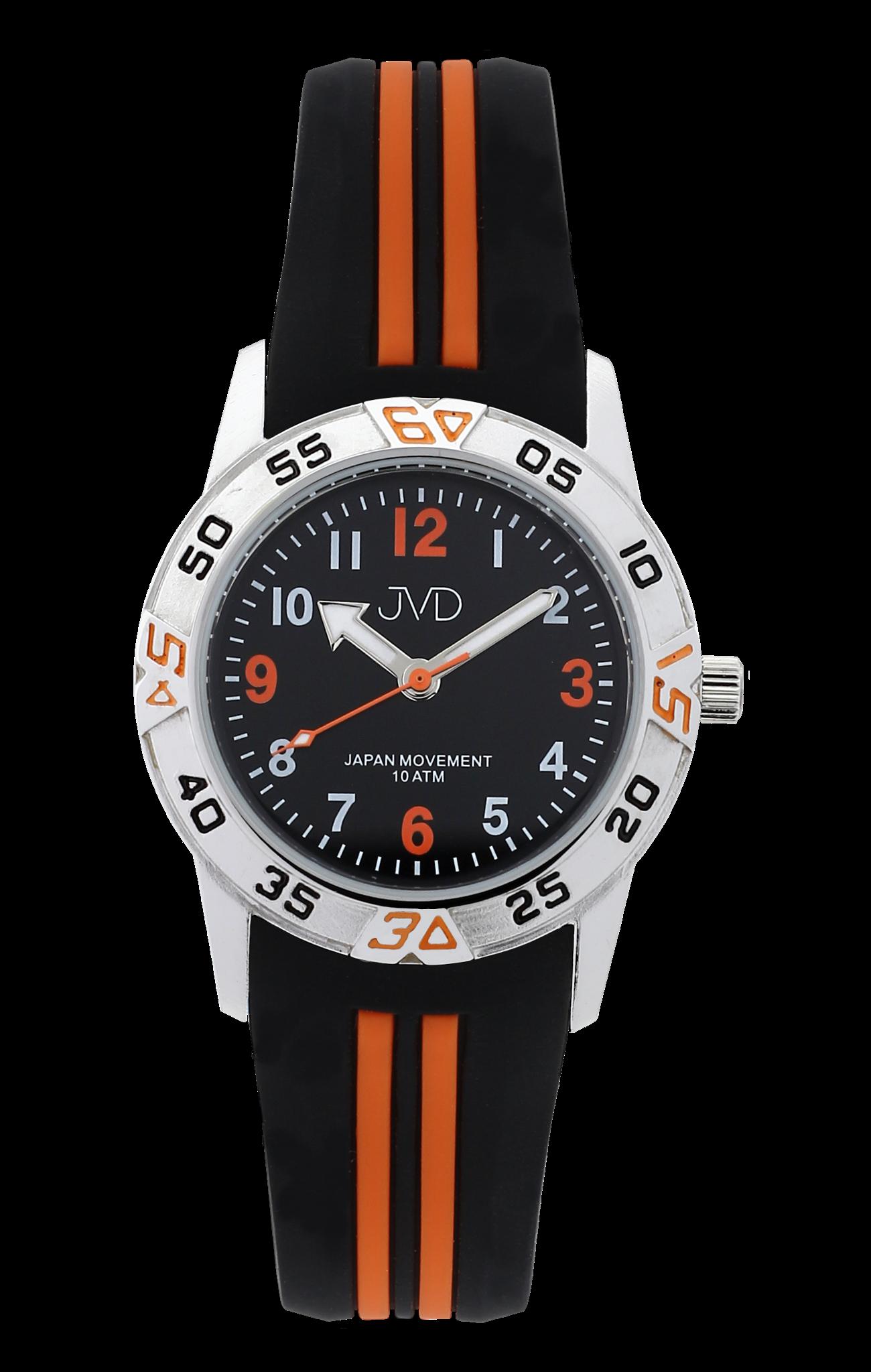 Černooranžové sportovní odolné dětské chlapecké vodotěsné hodinky JVD  J7187.1 - 10ATM ee306b71222