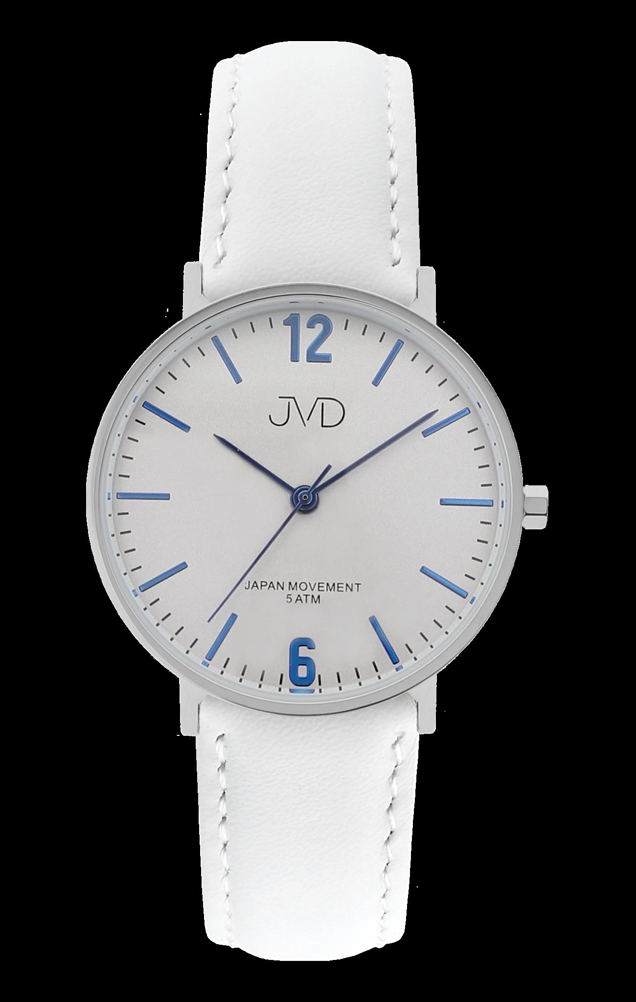 2f5f0e51891 Bílé dámské luxusní elegantní hodinky JVD J4173.1 s modrými prvky