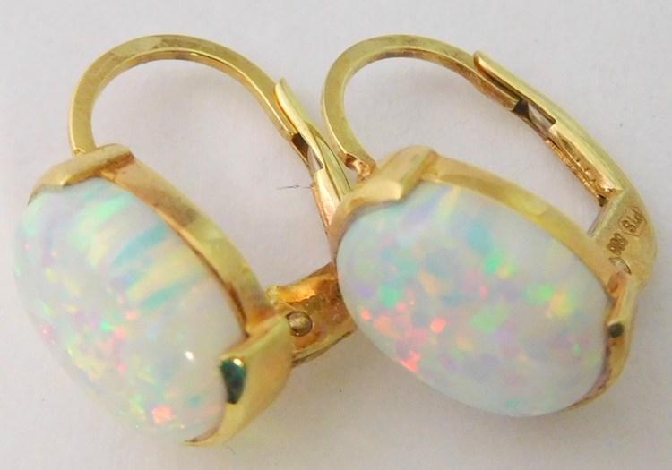 Zlaté dámské patentové náušnice s velkýmí bílými barevnými opály 585/2,65gr 1231351