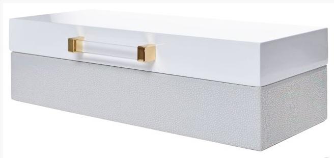 Elegantní dřevěná podlouhlá bílá lesklá šperkovnice pro drobné šperky 33393/6645