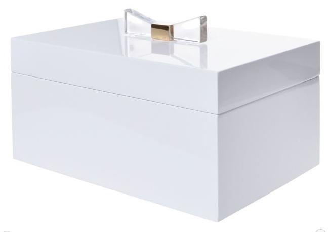 Obrovská velká dřevěná bílá šperkovnice pro drobné šperky se skrytým patrem 33388/6647