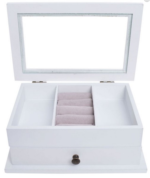 Dvoupatrová dřevěná bílá šperkovnice pro drobné šperky s proskleným víkem 33375/33835