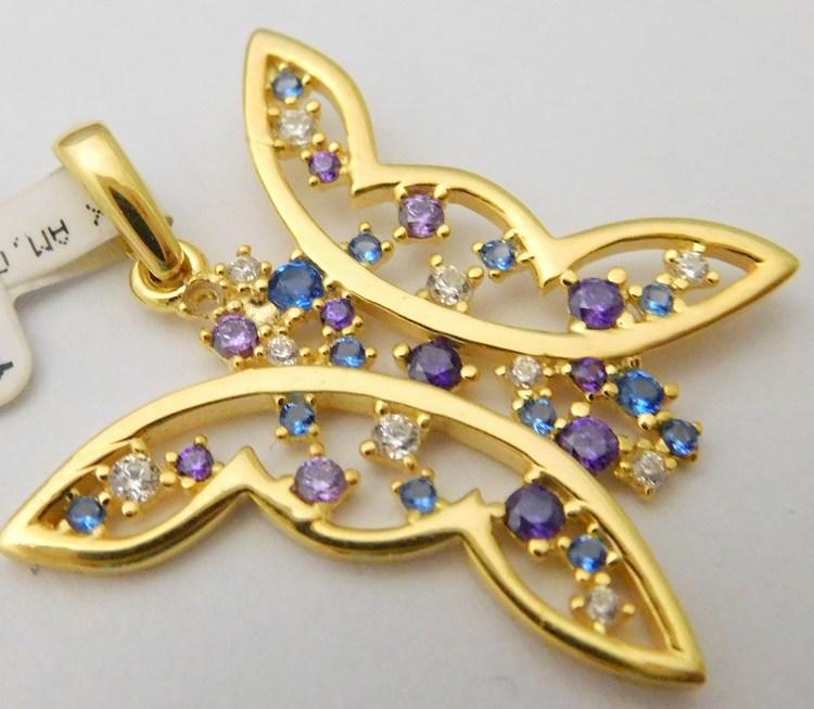 Velký zlatý přívěsek - motýlek pro štěstí se safíry a ametysty 585/2,25gr 1221089