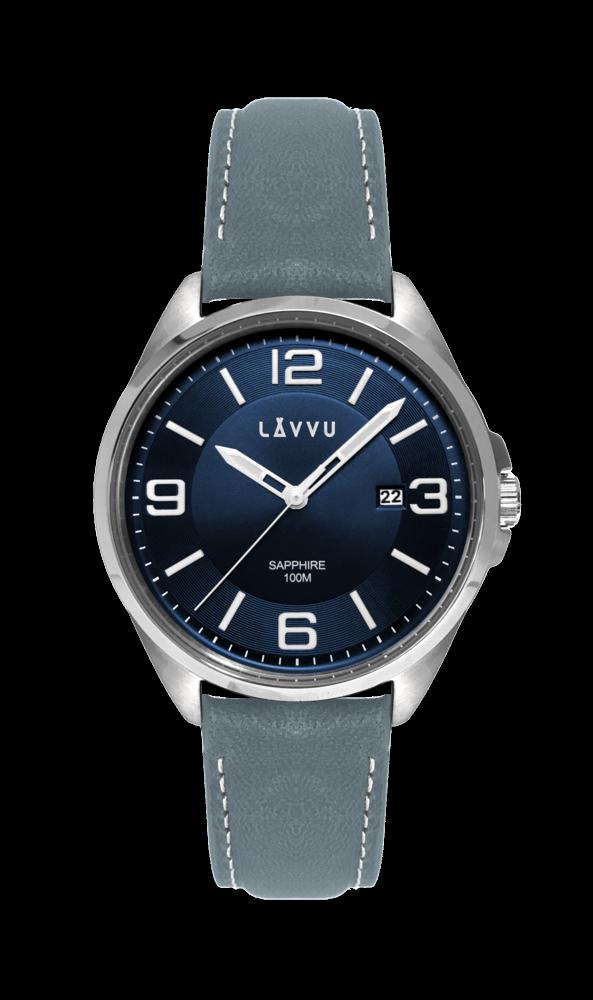 ed055888630 Vodotěsné pánské hodinky se safírovým sklem LAVVU HERNING Blue   Top Grain  Leather LWM0094