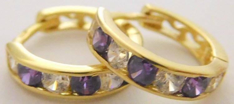 Zlaté kroužky se zirkony a fialovými ametysty 10mm 585/1,15gr 2230152