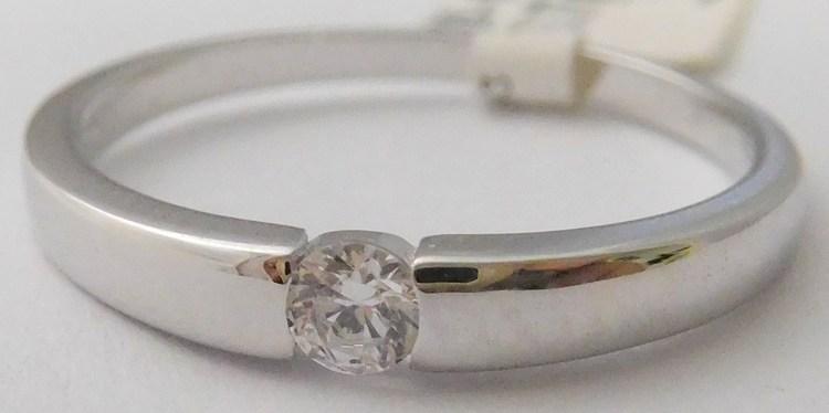 e6cc385eb Zásnubní zlatý prsten z bílého zlata s centrálním zirkonem 585/1,77gr vel.