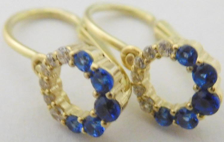 Zlaté dětské náušnice se zirkony a modrými safíry 585/1,20gr 6680239