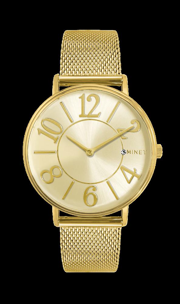 Zlaté dámské hodinky MINET PARIS Gold Mesh MWL5051  ef9c47ef67