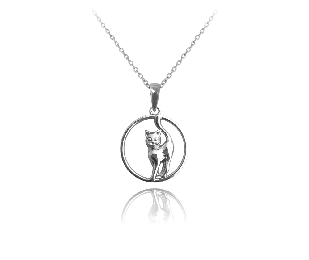 Stříbrný náhrdelník MINET KOČKA v kroužku JMAN0036CN42