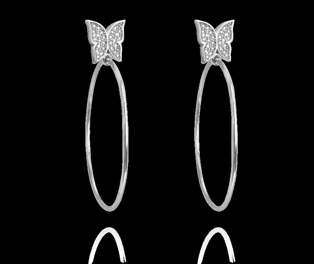 Stříbrné náušnice MINET KRUHY s motýly a bílými zirkony JMAN5003SE00 (JMAN5003SE00)