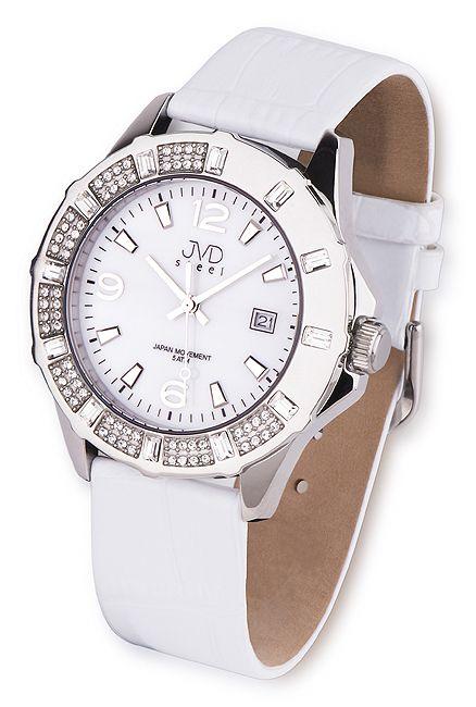 Luxusní bílé ocelové náramkové hodinky JVD steel J1033.1