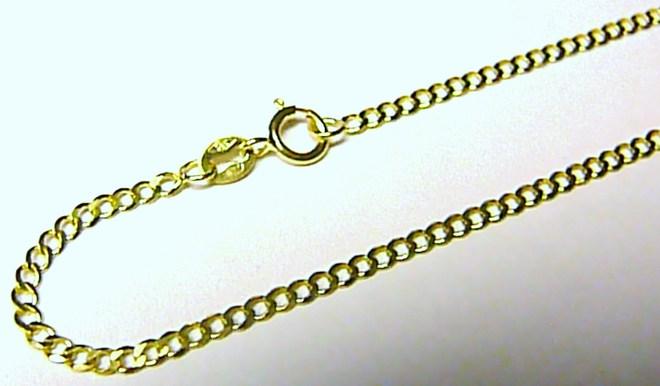 Pevný silný zlatý nářamek (očka) ze žlutého zlata 585/1,12gr 19cm T058